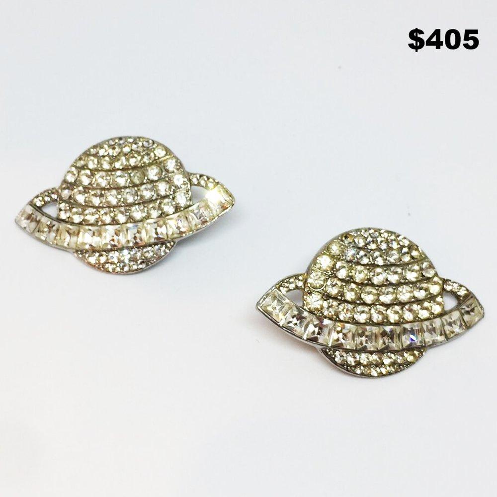 Crystal Saturn Earrings - $405