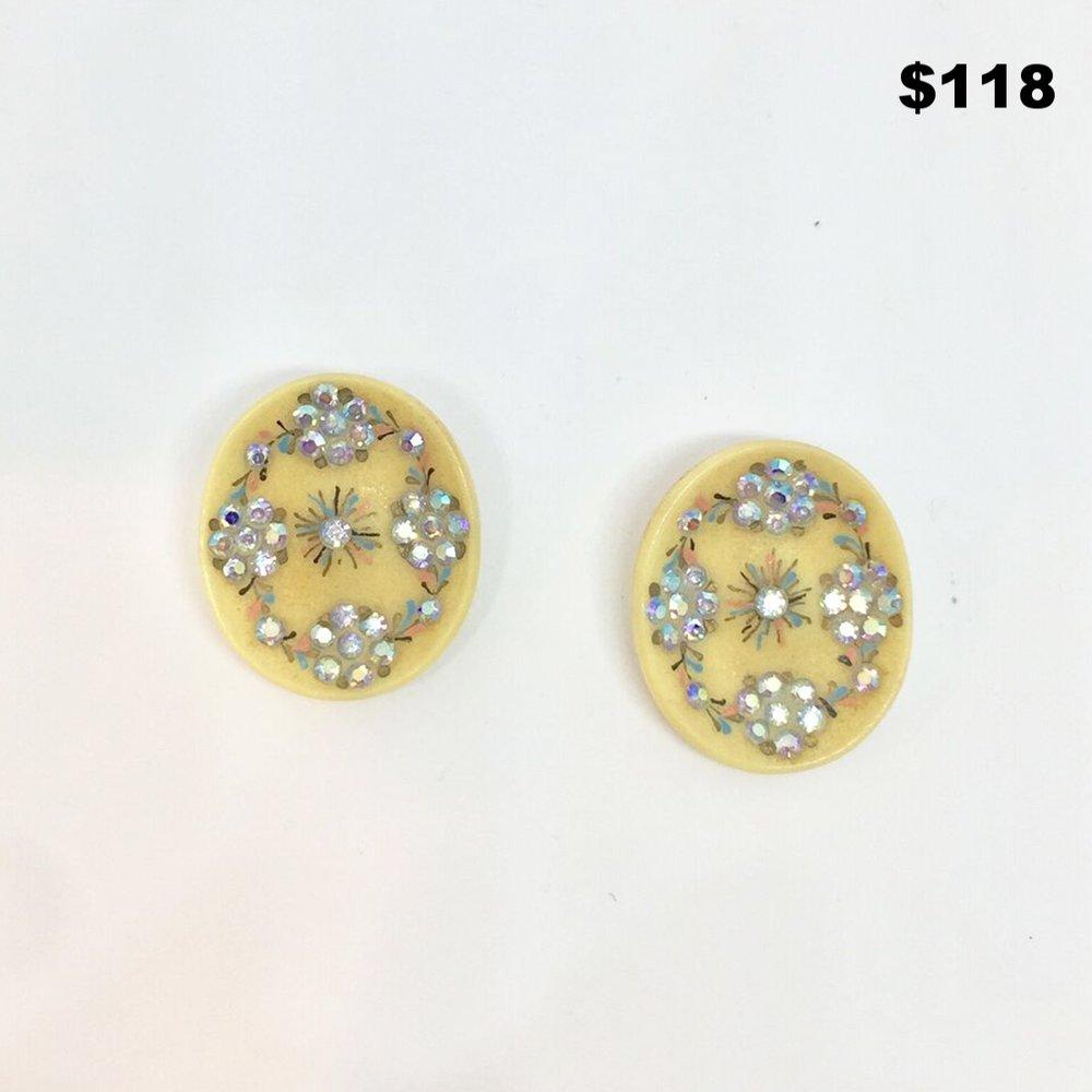 Bakelite Oval Earrings - $118