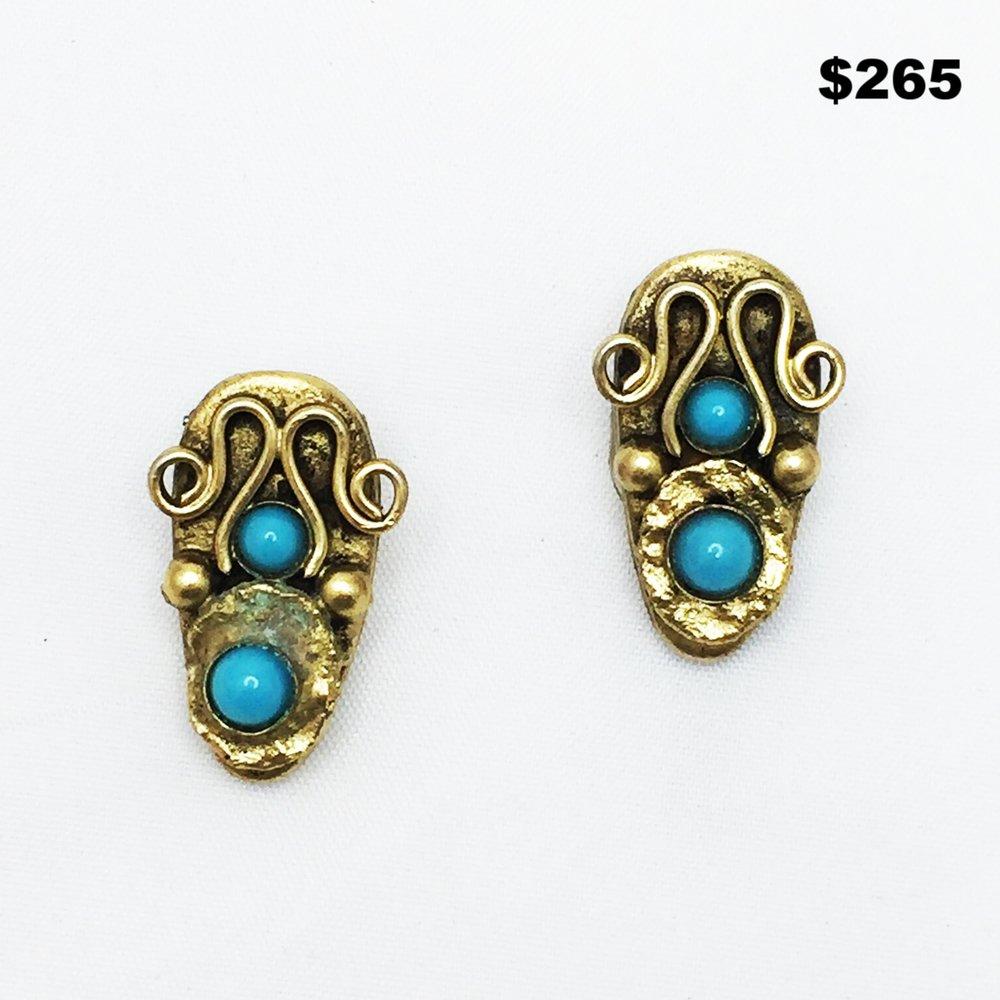 1960's Henry Blue Stone Earring