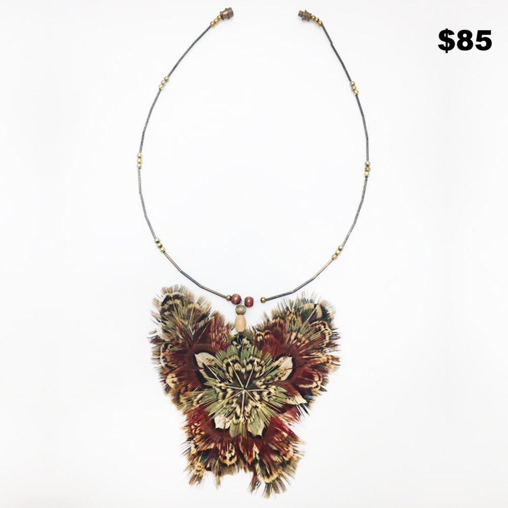 1970's Pheasant Butterfly Necklace