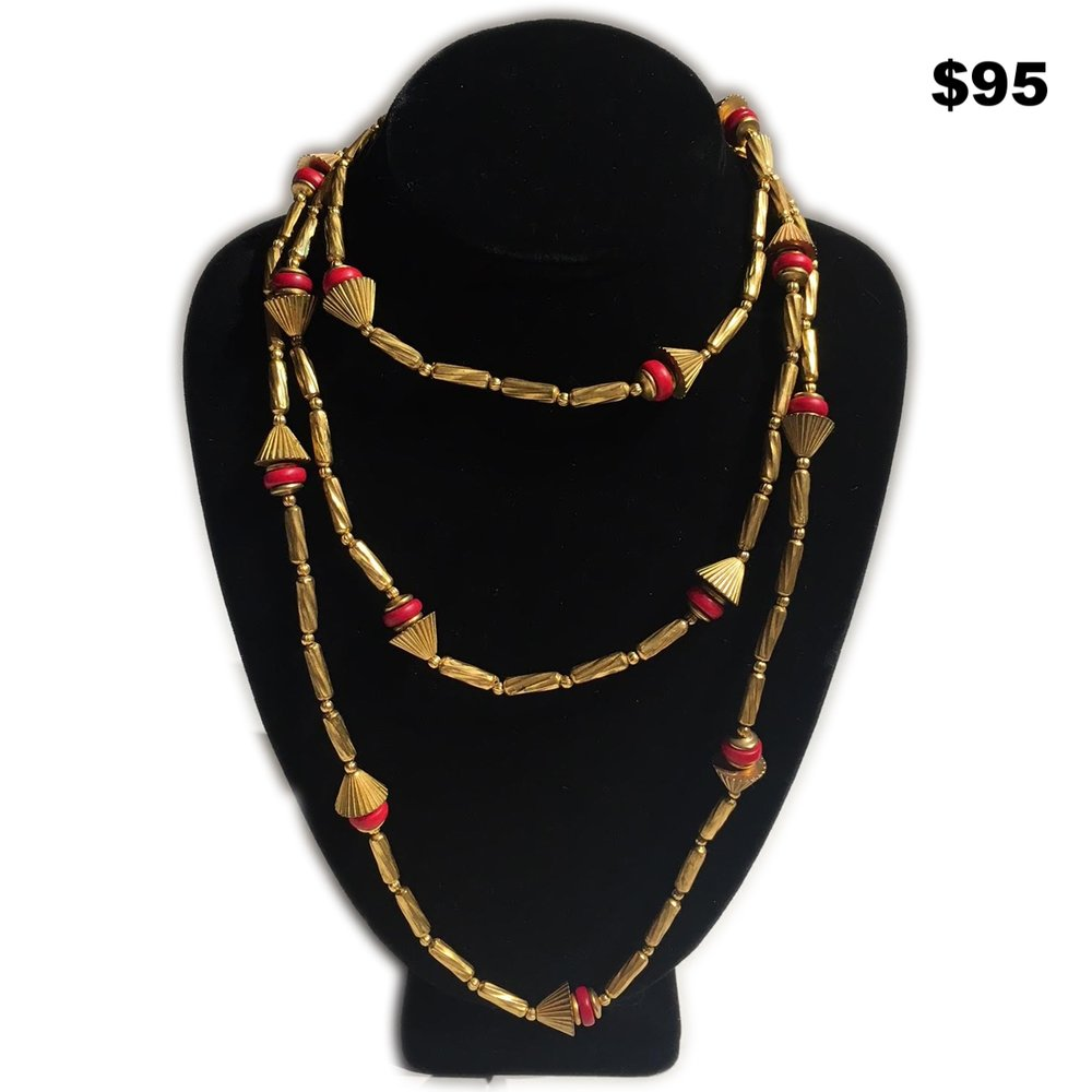 Red Stone and Beaded Necklace