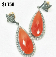 Carnelian Stone & Diamond Earring