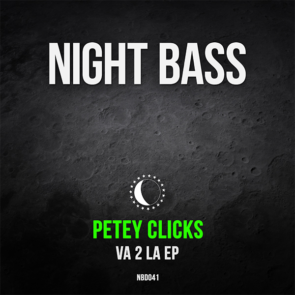 "Night Bass badman Petey Clicks returns with his 5th EP on the label. Using his studio wizardry, Petey pumps out two bangers in his unique trademark style. ""VA 2 LA"" is a twisted piece of bass house music with tinges of old school flavor, while ""Awake"" takes the old school influence a little further over some seriously heavy bass and breaks."
