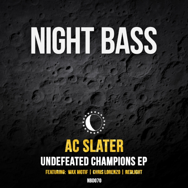 "Night Bass boss @ acslater  is back with a very special release. ""Undefeated Champions"" packs in three huge collaborations with some of the best in the game. Kicking off the EP is ""Legit"", a massive peak time heater from AC & @ WaxMotif . Up next is a new one by Slater & @ Chris-Lorenzo-1  called ""Giant Mouse"", with it's catchy riff and militant bassline. ""Ultra Hype"", an addictively bouncy roller from AC & @ Redlight-UK , perfectly rounds out the package."