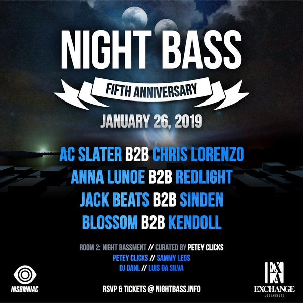 Our 5 year anniversary complete lineup is out! This special night will be held at Exchange LA and will feature tons of awesome B2Bs. Get your tickets from the link below and come celebrate another amazing year with the Night Bass family!