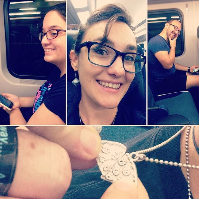 On @njtransit heading to @newarkcomiccon! See you soon, nerds! #PizzaNecklacesGo #geekapella