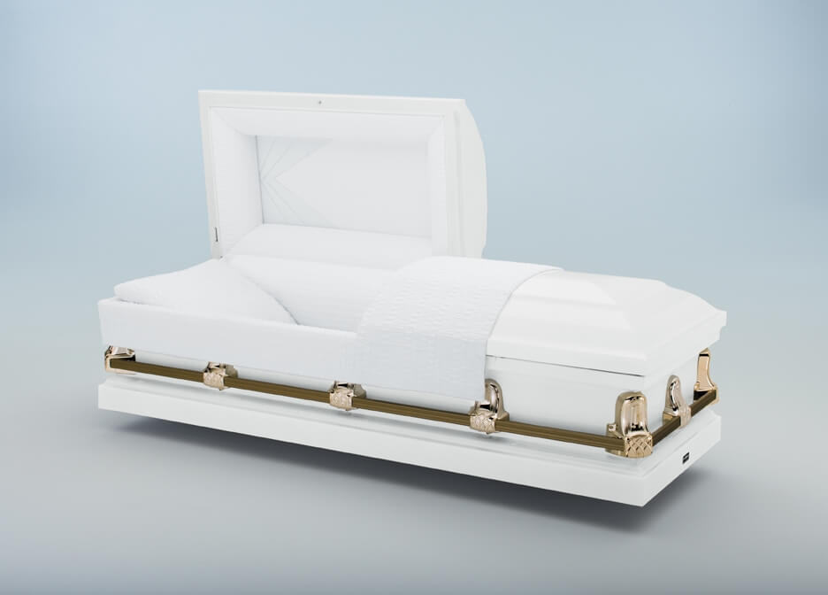 Gemini White   White exterior, white crepe interior  $500.00 (Included in Direct Burial Package)