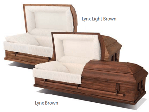 Lynx — Brown and Light Brown   Veneer exterior, rosetan crepe interior  $1338.00