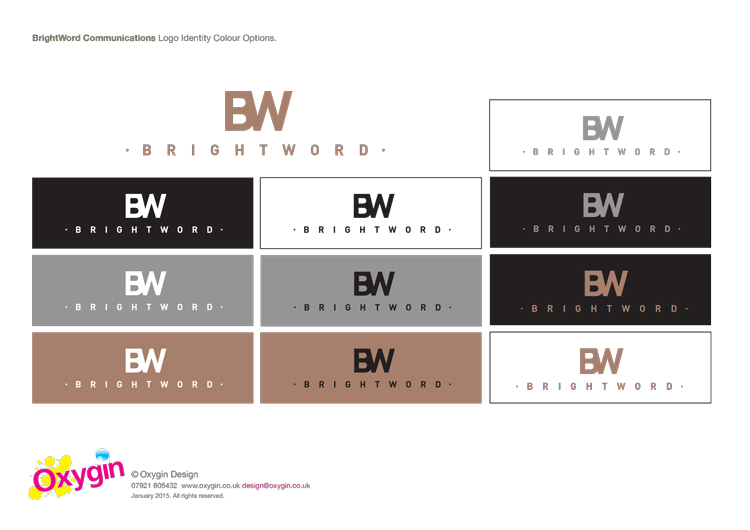 Logo variations and use of colour for BrightWord Communications.