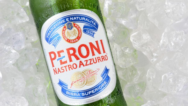 Peroni bottle on ice