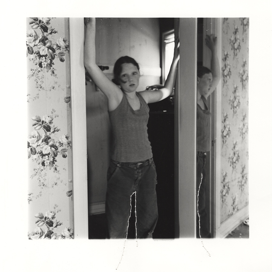"ruptured ""girls at eleven"" no. 17 Material: Silver gelatin print, linen thread 11"" x 14"" 1998/ 2014"