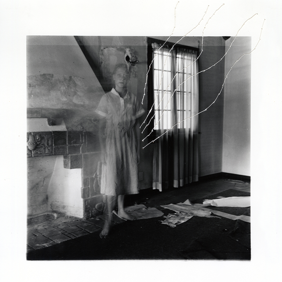 "ruptured ""girls at eleven"" no. 18 Material: Silver gelatin print, linen thread 11"" x 14"" 1998/ 2014"