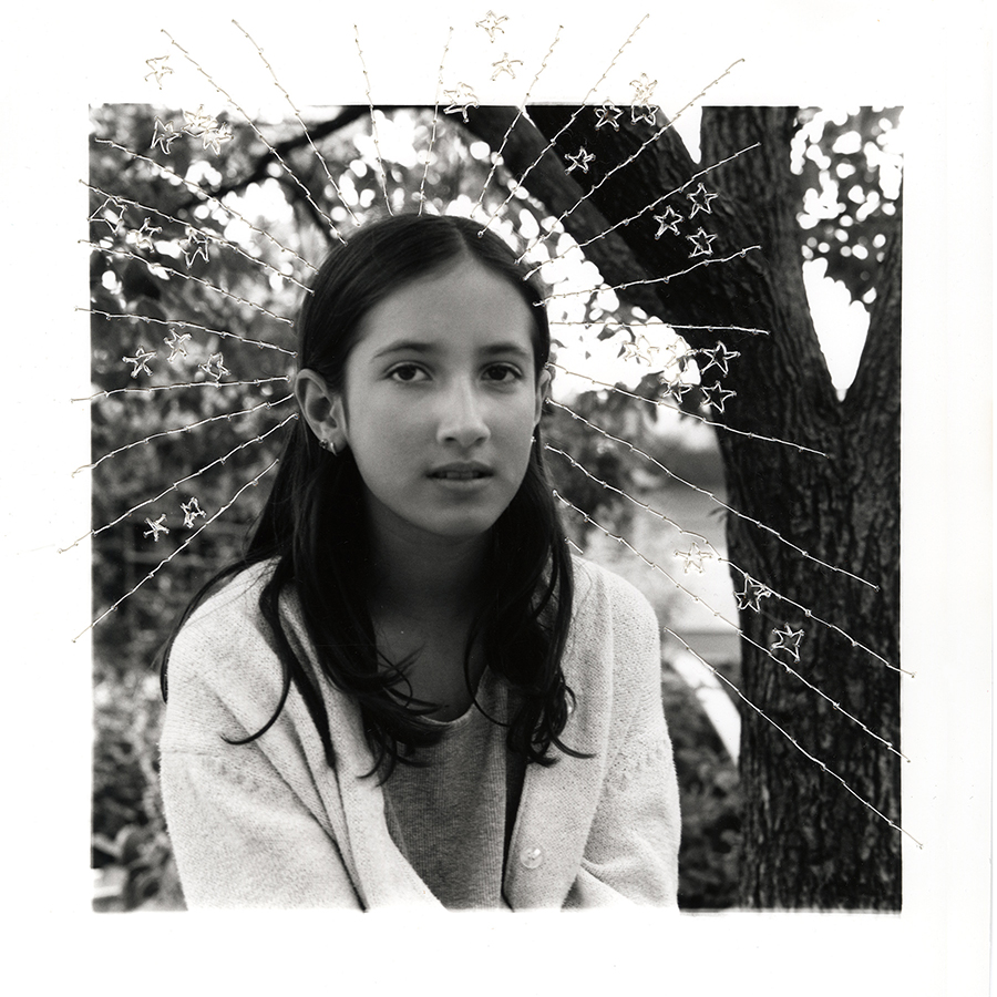 "ruptured ""girls at eleven"" no. 20 Material: Silver gelatin print, linen thread 11"" x 14"" 1998/ 2014"