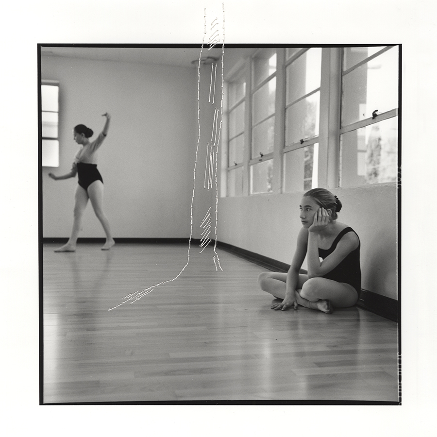 "ruptured ""girls at eleven"" no. 42 Material: Silver gelatin print, linen thread 11"" x 14"" 1998/ 2014"