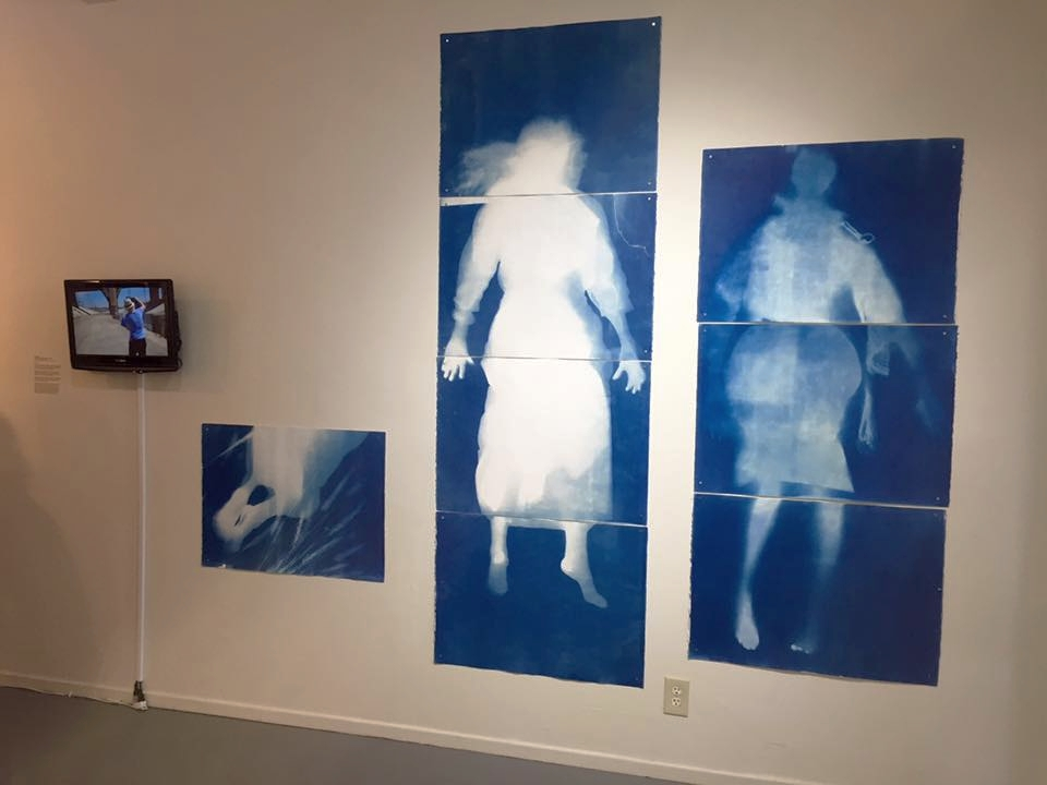 "MADISON: THIRST comes glistening out of the water, Performance at the water, cyanotypes, 2015  - (Left) Los Angeles River, BLAH BLAH, 30 x 22"" x 30""   ( Middle) Los Angeles River, TITLE, 88"" x 30""   (Right) San Francisco Bay, TITLE, 66"" x 30""  