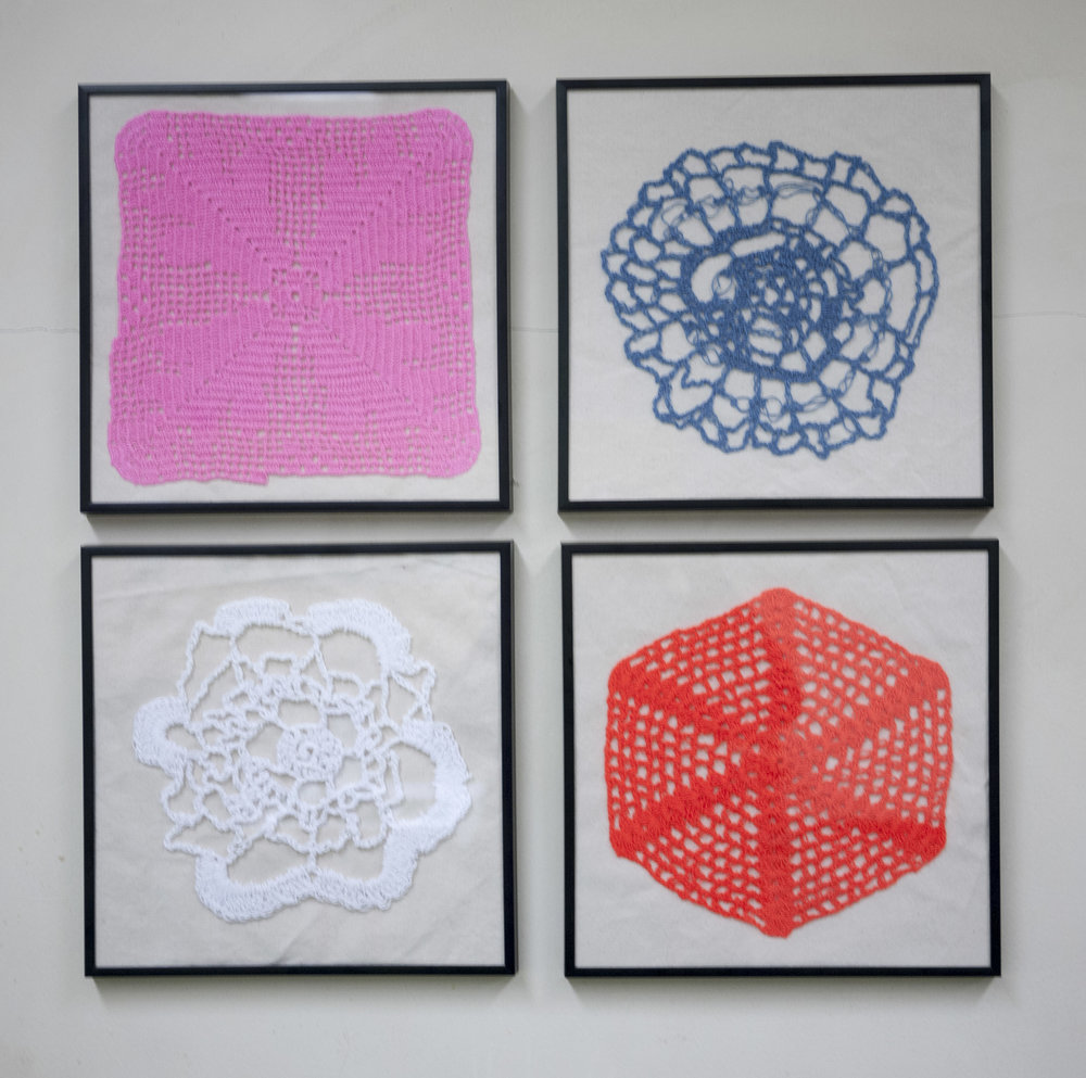 Armando Cortes and Maria Cortes  Crochet Like a Girl, 2016  My mother was my first teacher. She continues to teach me till this day. Two of these doilies are were made by her, the other two are my first attempts at making them