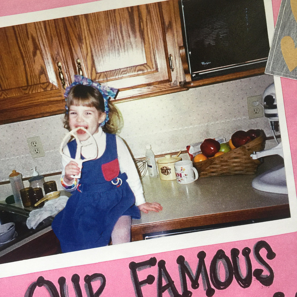 A photo of me from our family cookbook. My mom gave me this Kitchen Aid and I still have it today! This photo reminds me that some things never change... ;)