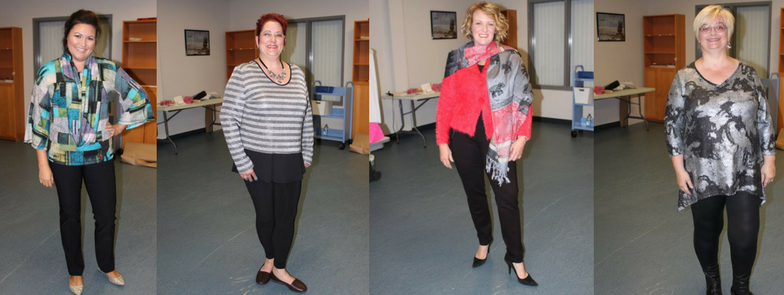 Four women dressed in different outfits from Vivacious Boutique and Day Spa at the Fall Fashion show in November of 2016