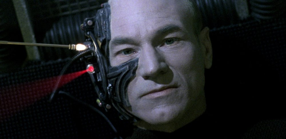 Captain Jean-Luc Picard (Patrick Stewart) is assimilated by the Borg.