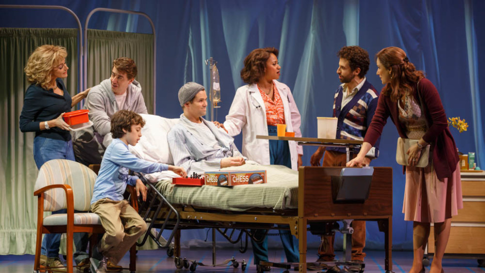Betsy Wolfe, Christian Borle, Anthony Rosenthal, Andrew Rannells, Tracie Thoms, Brandon Uranowitz, and Stephanie J. Block in  Falsettos . (Joan Marcus)