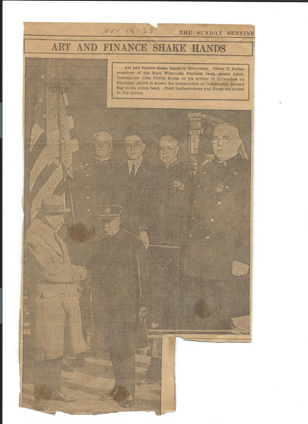 The flag and banner in this photograph are kept in the display case at the Police Academy in front of the band room.  This article was printed in the Sentinel on November 18, 1923.