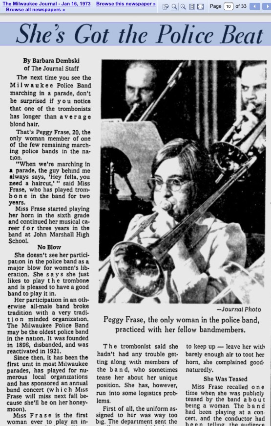 IMG_3159 MILW JOURNAL JAN 16, 1973 FIRST FEMALE MPB PEGGY FRASE.jpg