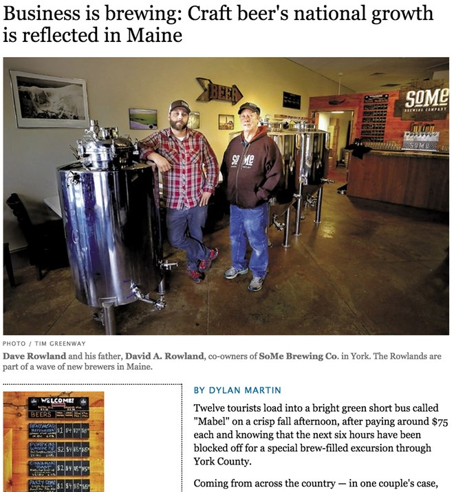 Business is brewing: Craft beer's national growth is reflected in Maine