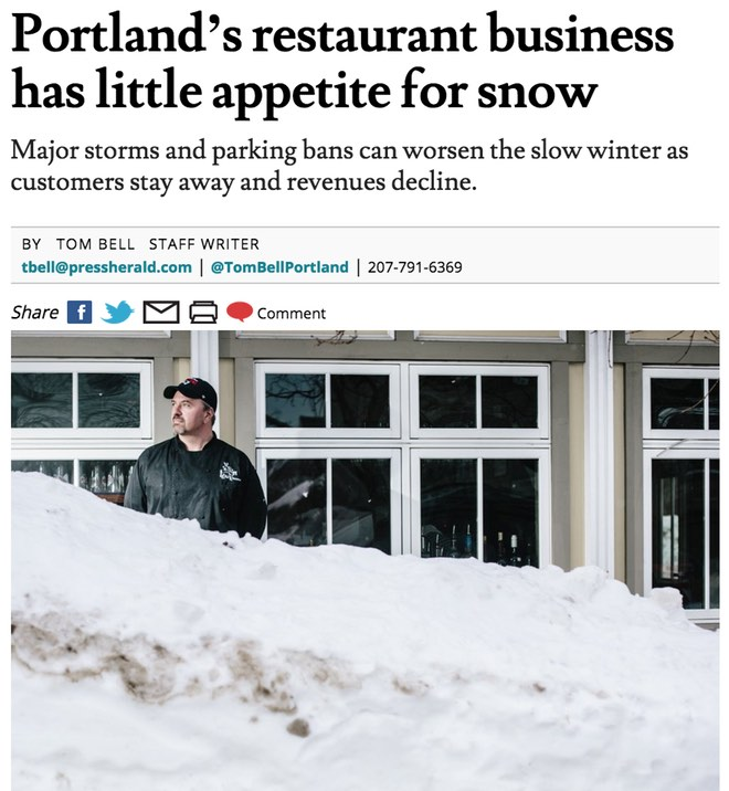 Portland's restaurant business has little appetite for snow