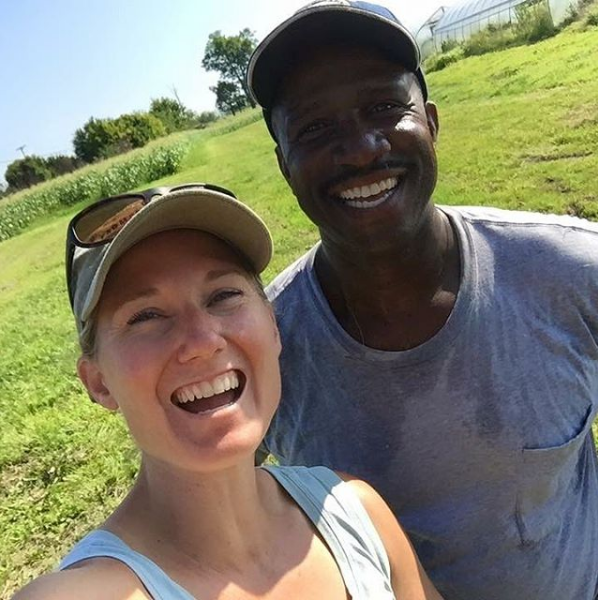 Alvina (U.S. Air Force) with Lonzo (U.S. Navy of Ballew Farms : our hay provider.
