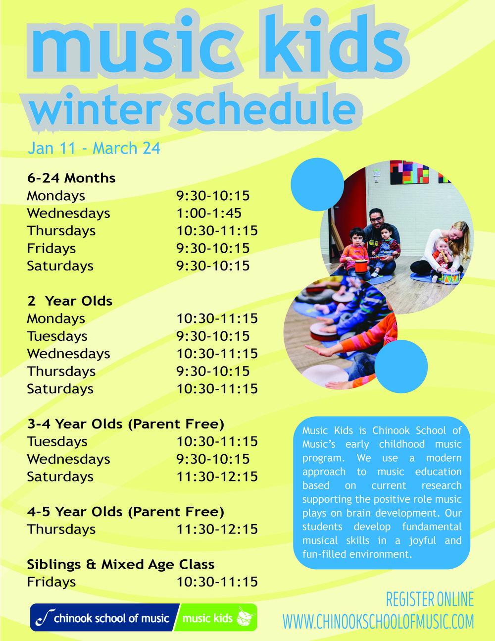 MK Winter Schedule