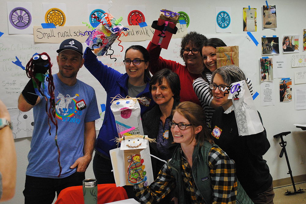 Teachers created hand puppets that expressed his or her creative self.