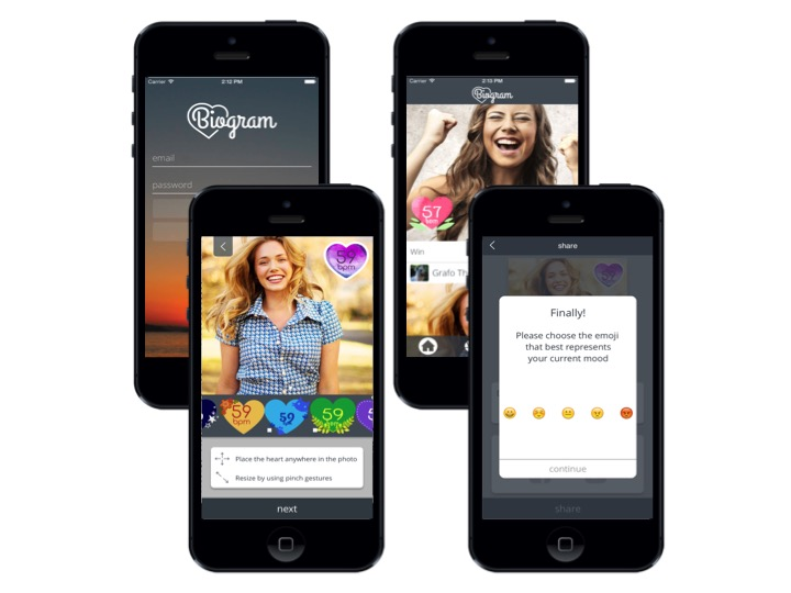 Biogram allows users to tag their photos with their heart rate and share their emotions.