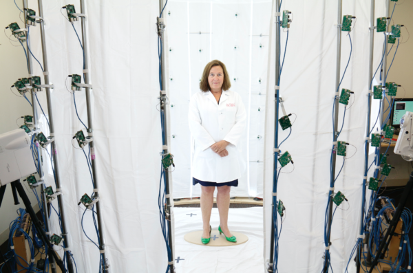 Dr. Saxon prepares to be scanned for her Virtual Doctor avatar