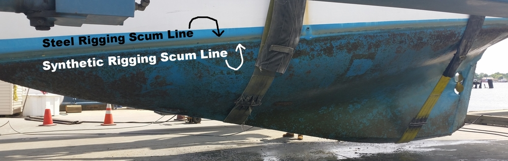 The weight reduction from switching to the lighter synthetic rigging made the boat float higher. This vessel weighs 17 tons and came out of the water a few inches!