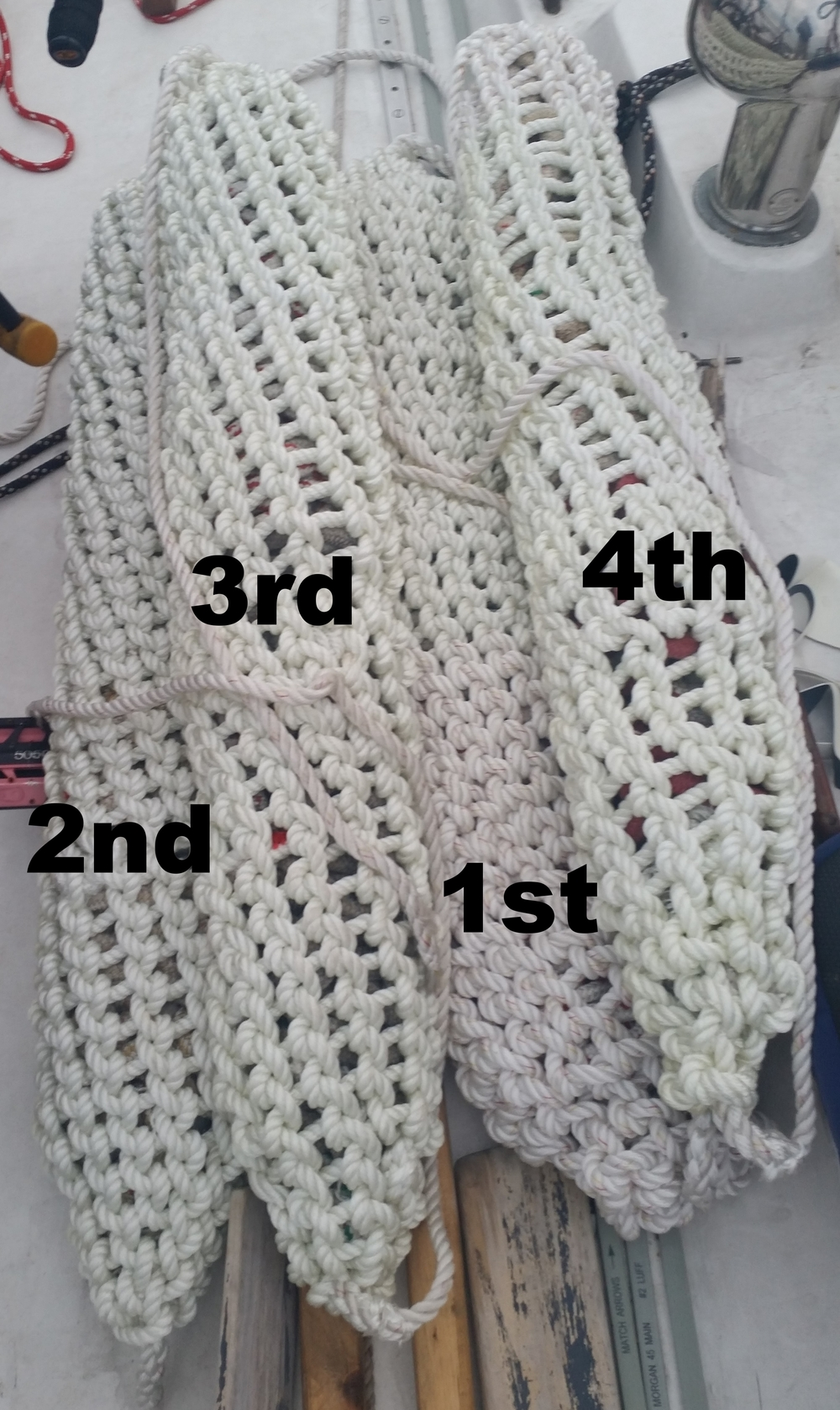 1st: I had plenty of rope! 2nd: Still had plenty of rope, but made the gaps a bit larger to consume less rope. Greatly improved the tapers at the ends. 3rd: Had plenty of rope. Perfected the tapers on ends of the fenders. 4th: Running out of rope, so I made the gaps much larger to stretch out the available rope.