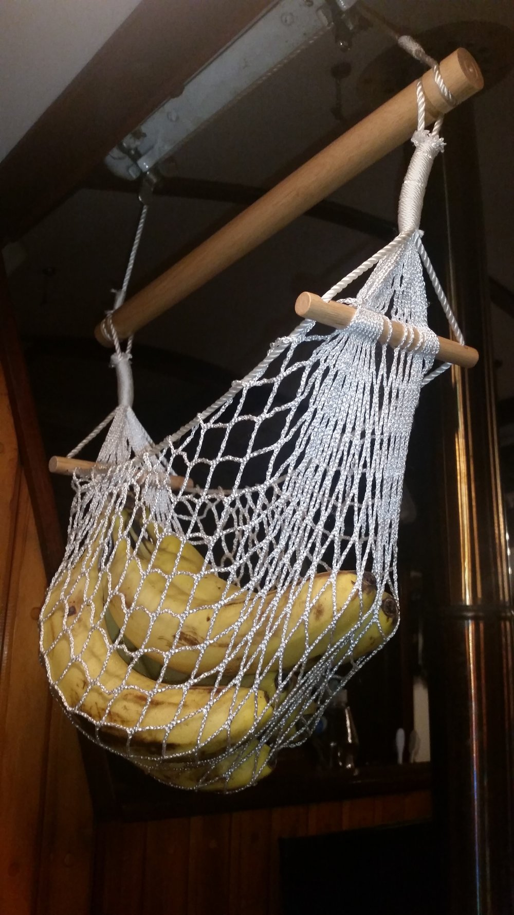 bananas can be hard to store on a sail boat  they bruise easily and need to be kept with plenty of fresh air  a fruit hammock can resolve most of these     banana hammock  u2014 rigging doctor  rh   riggingdoctor