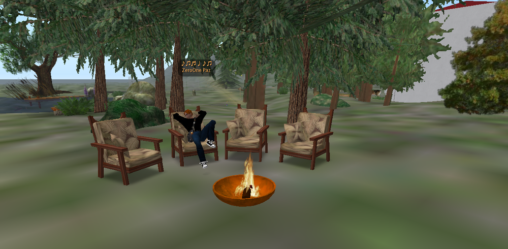 A resident lounges by his backyard fire pit.