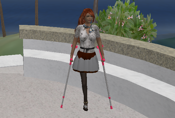 This resident has only one leg in real life and designed her avatar to reflect that.