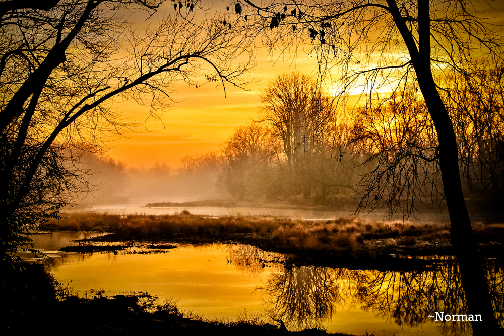 Misty Autumn Sunrise at the River