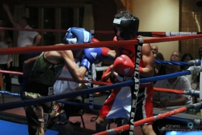Portland Boxing Club's Tito Morales and Cruz Boxing's Calixto Cruz.  Photo courtesy Kineo Photography.