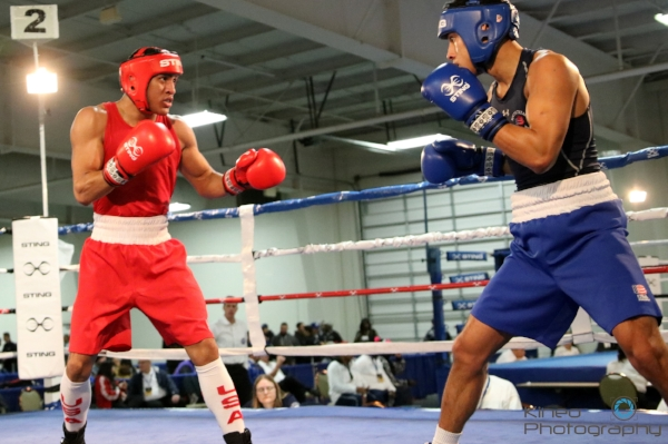 Portland Boxing Club's welterweight Josniel Castro (left) and Joshua Moreno (right) of San Antonio, TX in the quarterfinal round of the USA Boxing National Championships in Kansas City, MO. Photo courtesy of Kineo Photography.