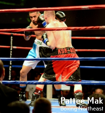Portland Boxing Club's Casey Kramlich (right, red trunks) at Twin River Casino on April 7, 2017.  Photo courtesy Pattee Mak, Boxing Northeast.
