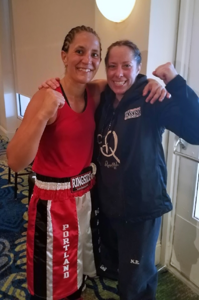 Portland Boxing Club's Lindsay (Kyajohnian) Francois (left) and Liz Leddy (right) at the 18th Annual Women's National Golden Gloves Tournament of Champions in Fort Lauderdale, FL.