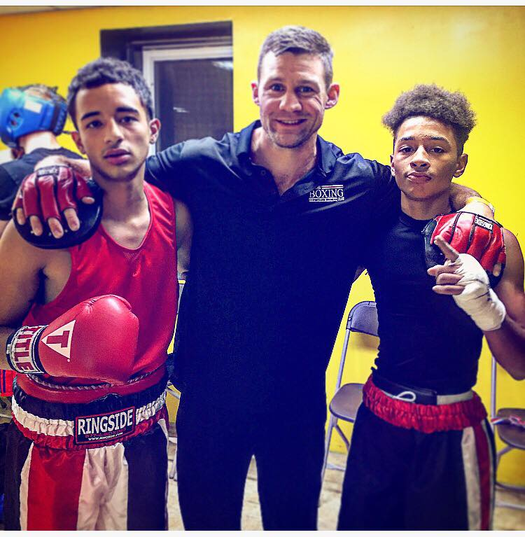 "Portland Boxing Club's Gabriel ""Tito"" Morales, Assistant Coach Ivan Papkee and Barry Wilson at the Thrive II boxing show in Londonderry, NH. Also competing at Thrive II was Portland Boxing Club's Danny Pang."