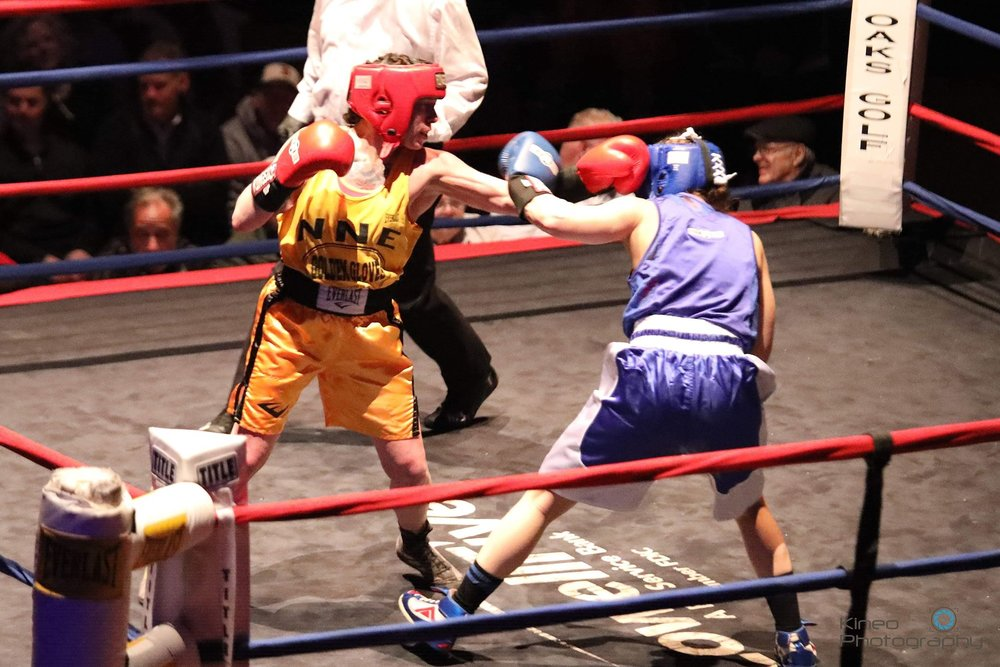 Portland Boxing Club's Liz Leddy won her eighth New England Golden Gloves Championship Title at the New England Golden Gloves Championships in Lowell, MA on March 7, 2019.  Photo courtesy Kineo Photography.