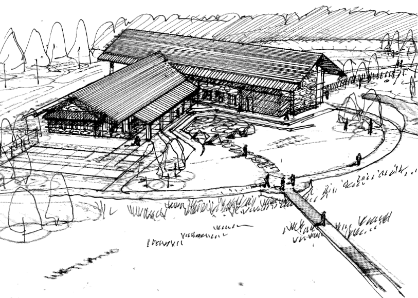 Exterior Visitor Center Sketch (left)