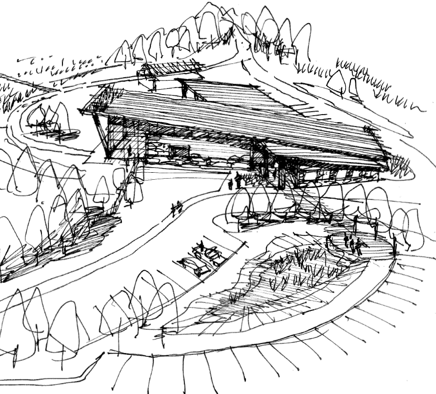 Exterior Visitor Center Sketch (right)