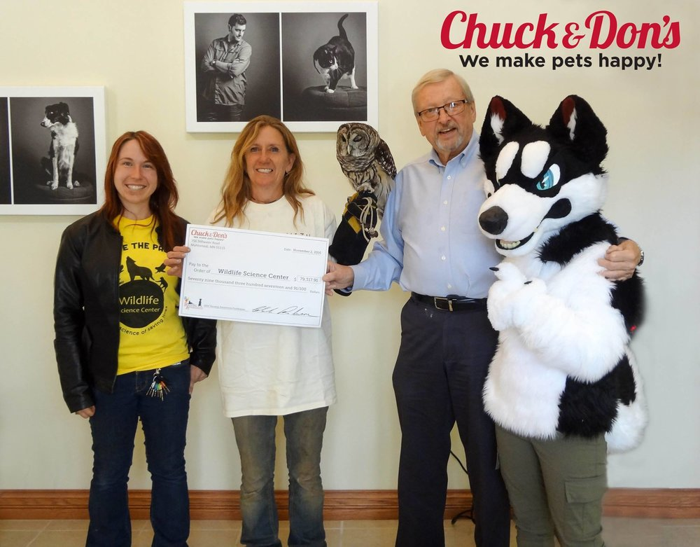 "WSC was honored to receive a donation of nearly $80,000 from Chuck and Don's as part of their ""Raising Awareness"" campaign!"
