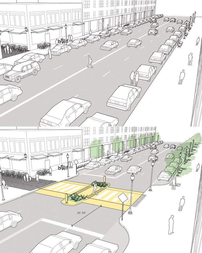 Пример организации безопасного пешеходного перехода с островком безопасности, освещением и снижением скорости потока машин за счет поднятия уровня перехода. Такой переход способен спасти не одну человеческую жизнь и удобен для всех.