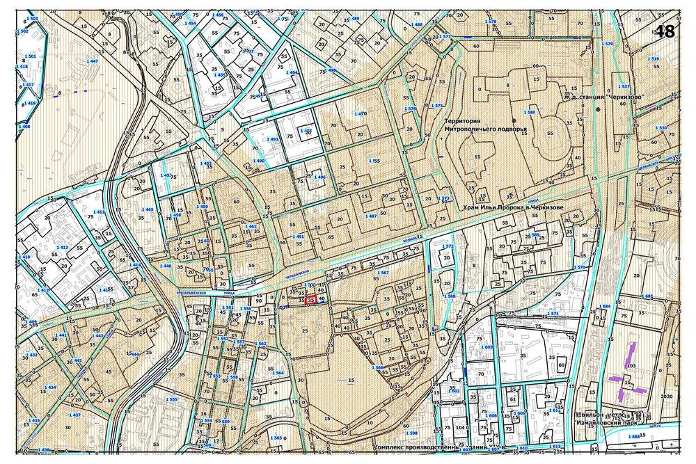 Карта-схема к постановлению правительства Москвы с указанной предельной высотой застройки этого участка — 35 метров